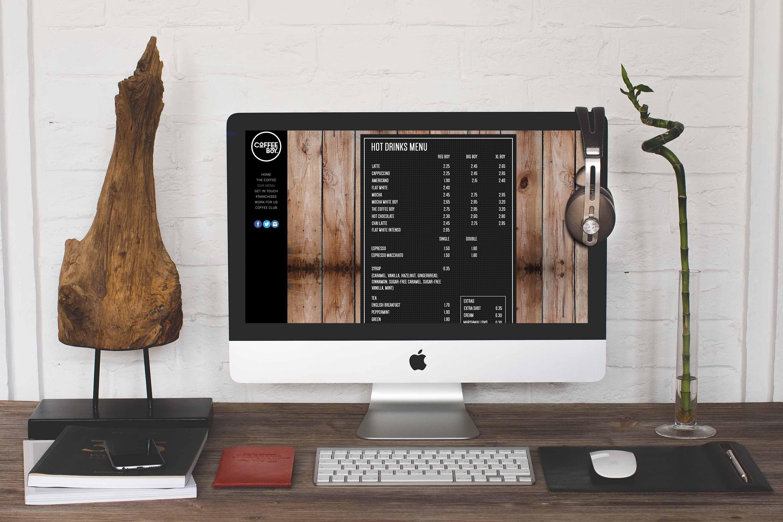 CoffeeBoy Website Menu Page
