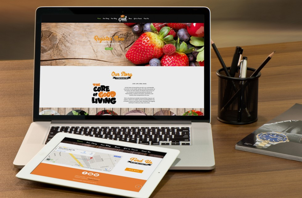 Peel Juice Bar Website Home Page