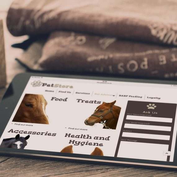 The Pet Store Tablet Website About Page