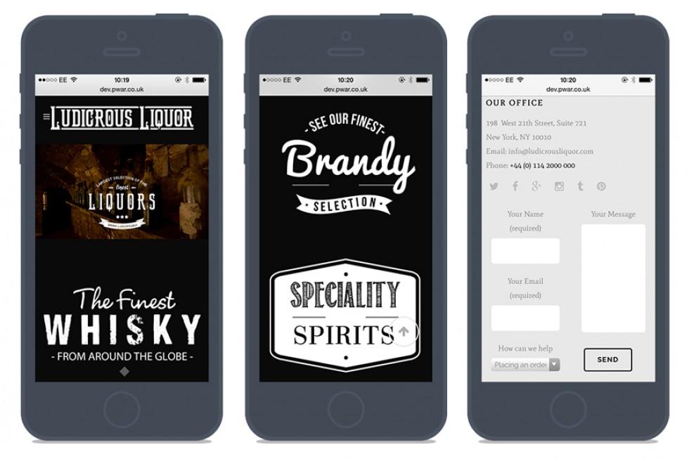 Ludicrous Liquor Mobile Website Pages