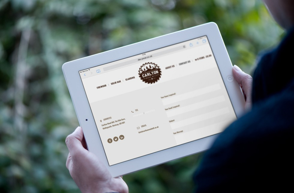 Carlton Woodpile Tablet Website Contact Page