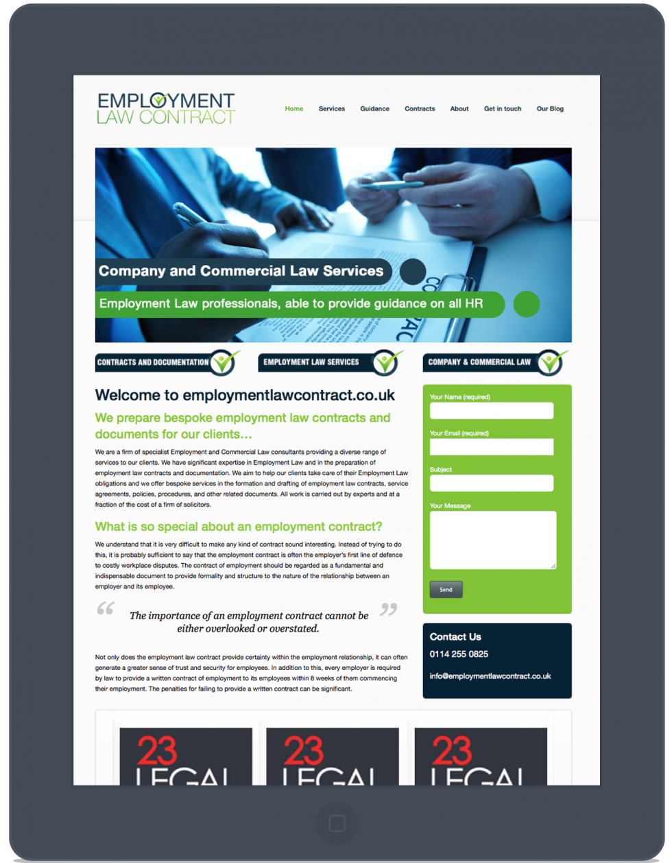 Employment Law Contract Tablet Website
